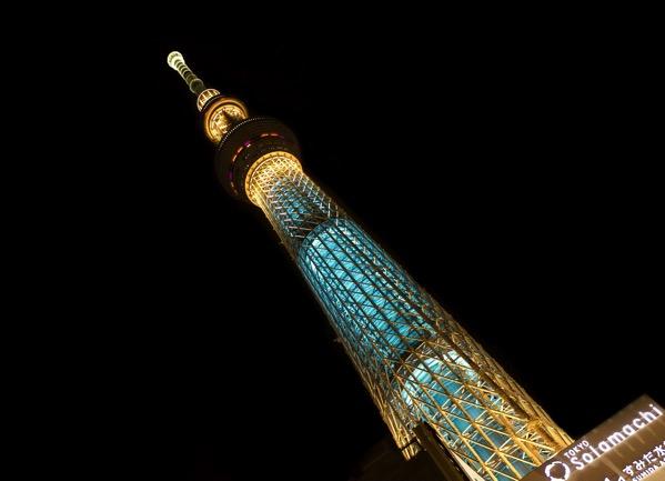 東京スカイツリーを見上げた画像