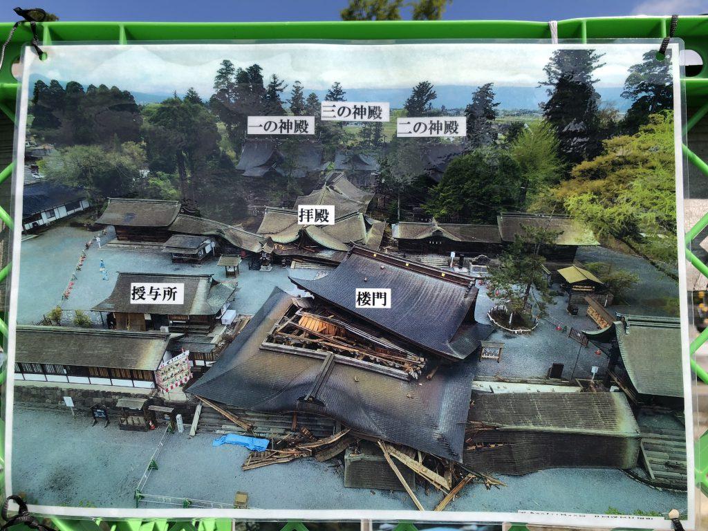 熊本地震直後の阿蘇神社の画像